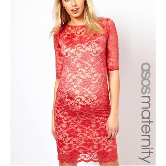 ASOS Maternity Dresses & Skirts - ASOS   Coral/Red Lace Dress With Back Cut-Out